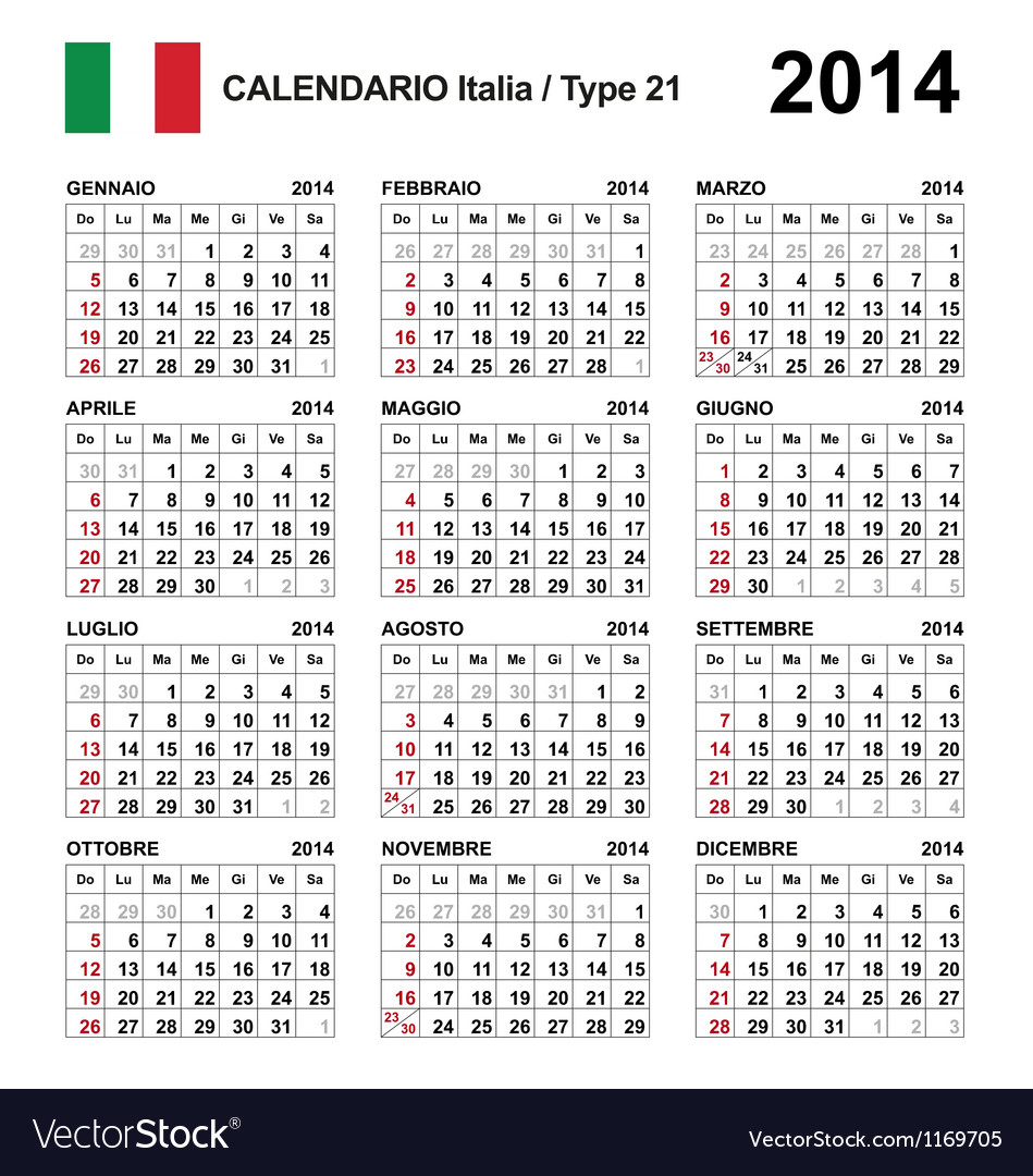 Calendar 2014 italy type 21 vector | Price: 1 Credit (USD $1)