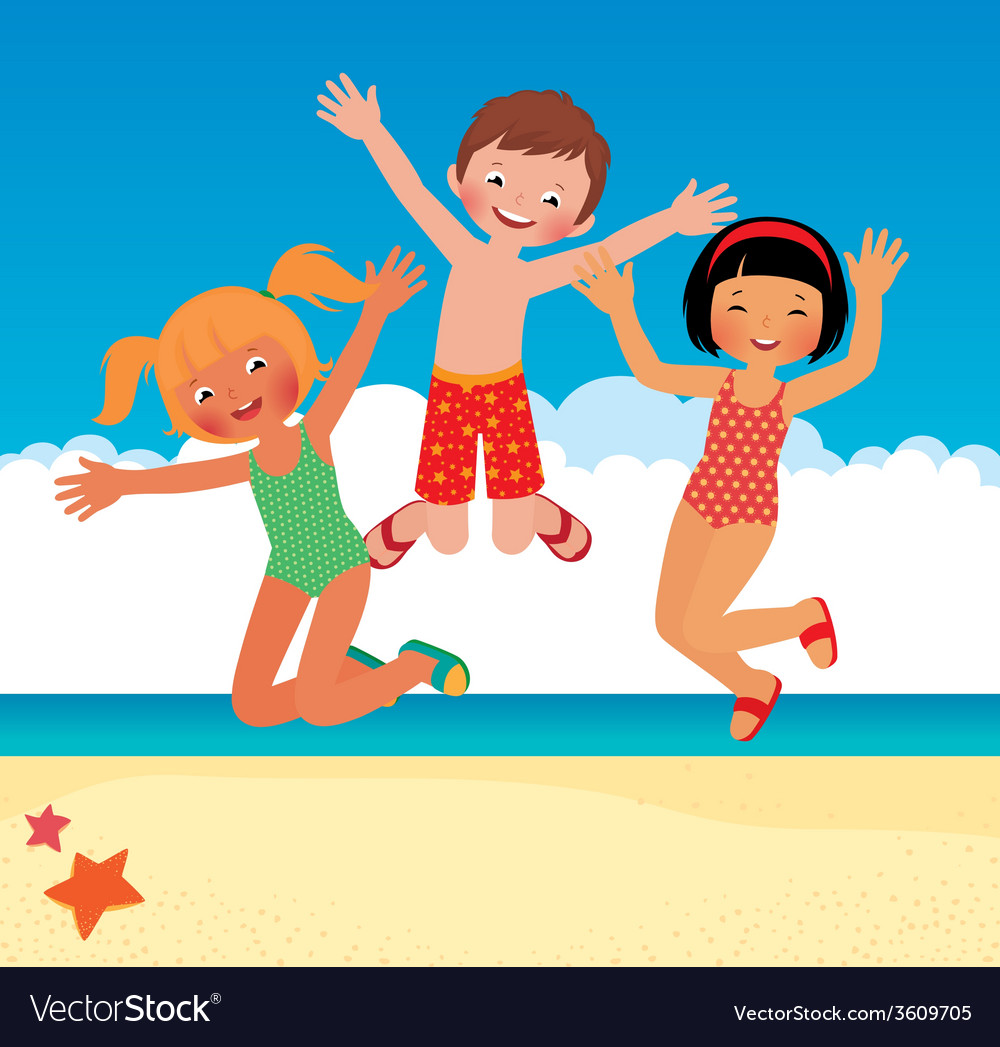 Funny children on the beach vector | Price: 1 Credit (USD $1)