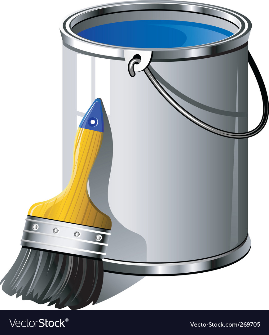 Paint brush and bucket vector | Price: 1 Credit (USD $1)