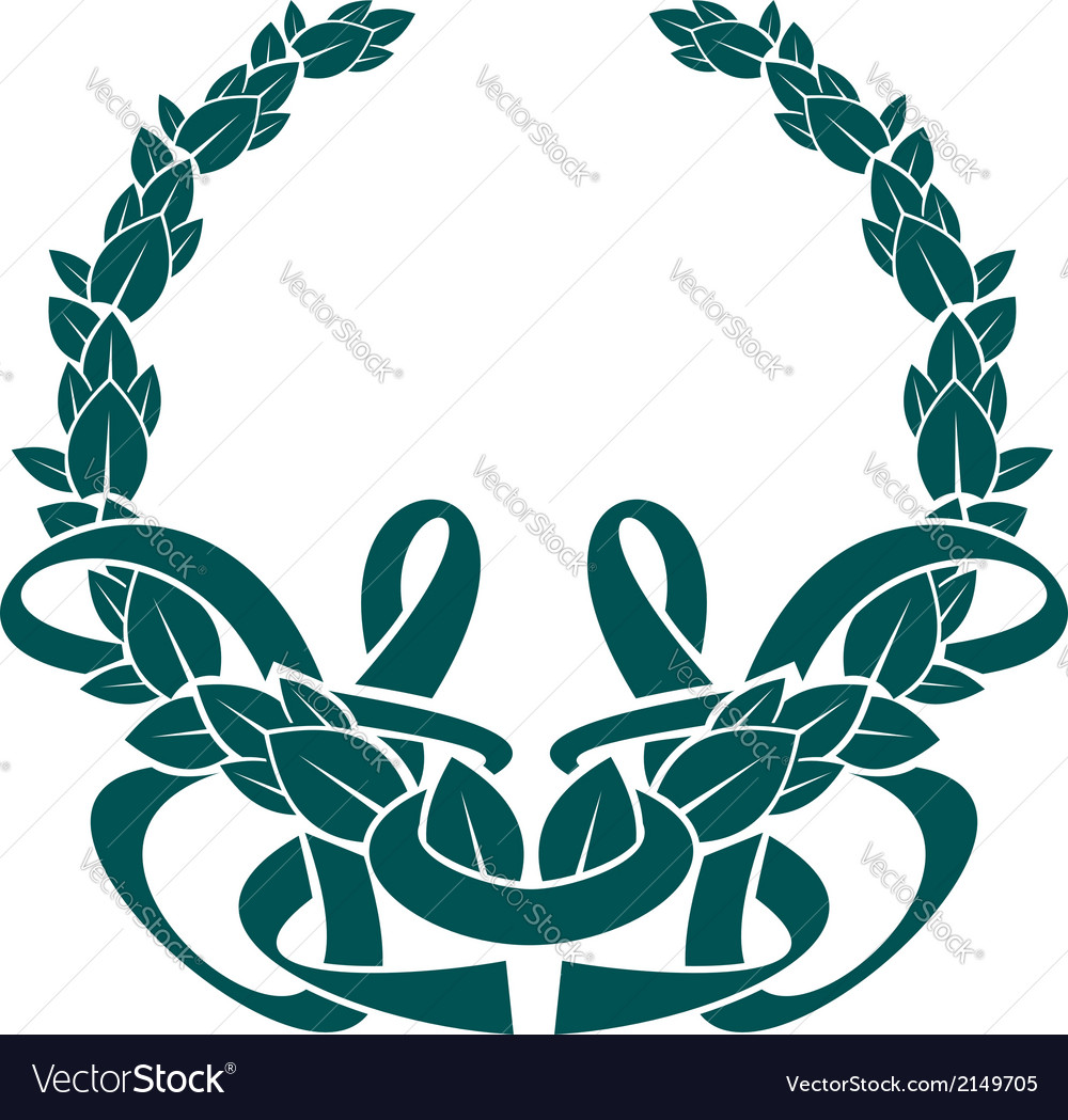 Pretty foliate wreath with an intertwined ribbon vector | Price: 1 Credit (USD $1)