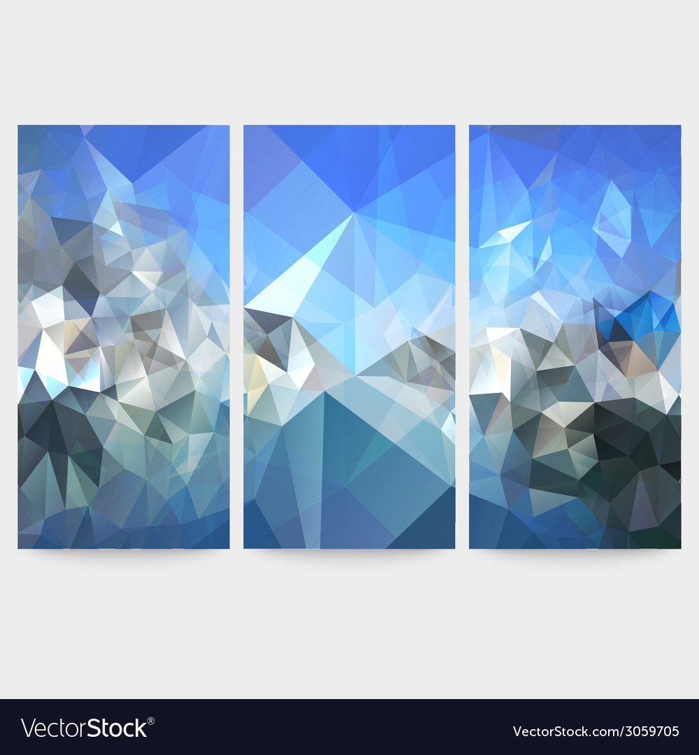 Set of blue abstract backgrounds triangle design vector | Price: 1 Credit (USD $1)