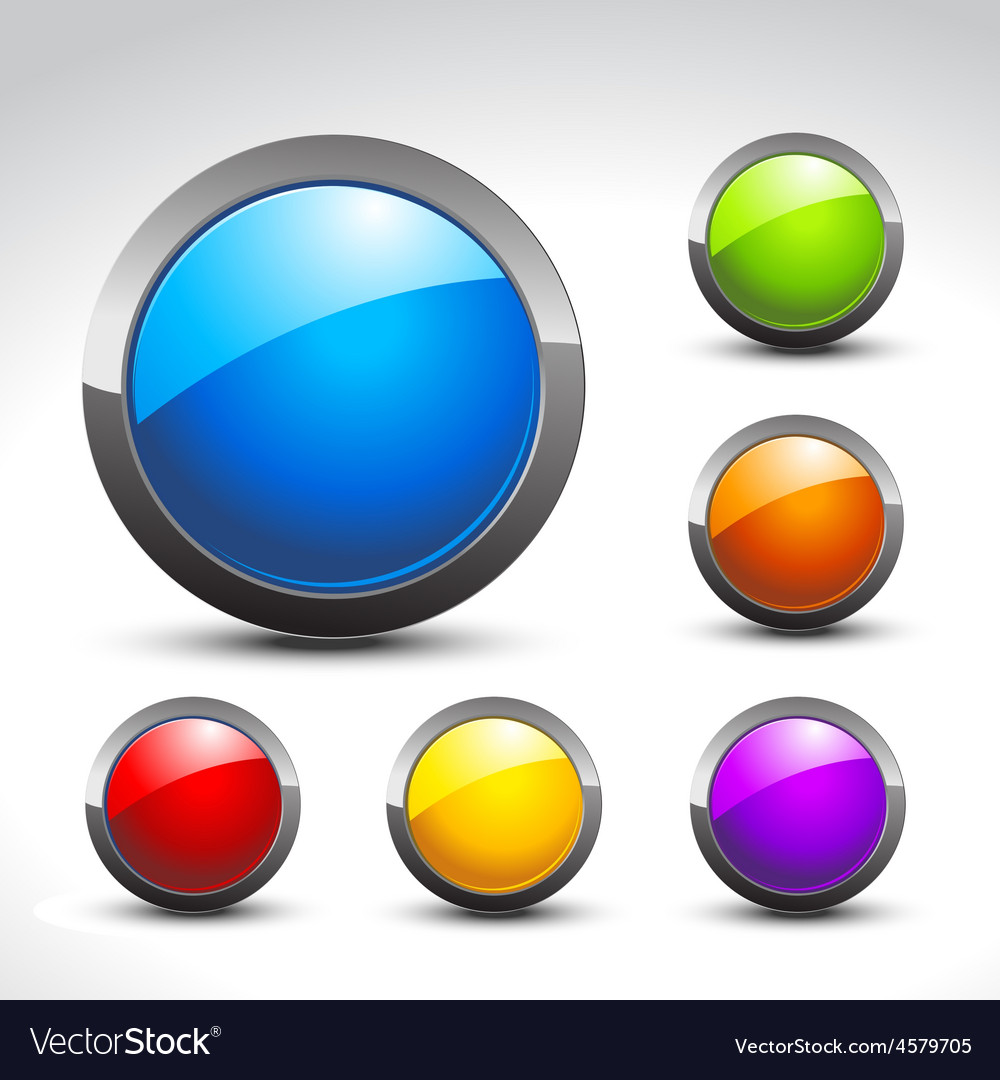 Shiny button set vector | Price: 1 Credit (USD $1)