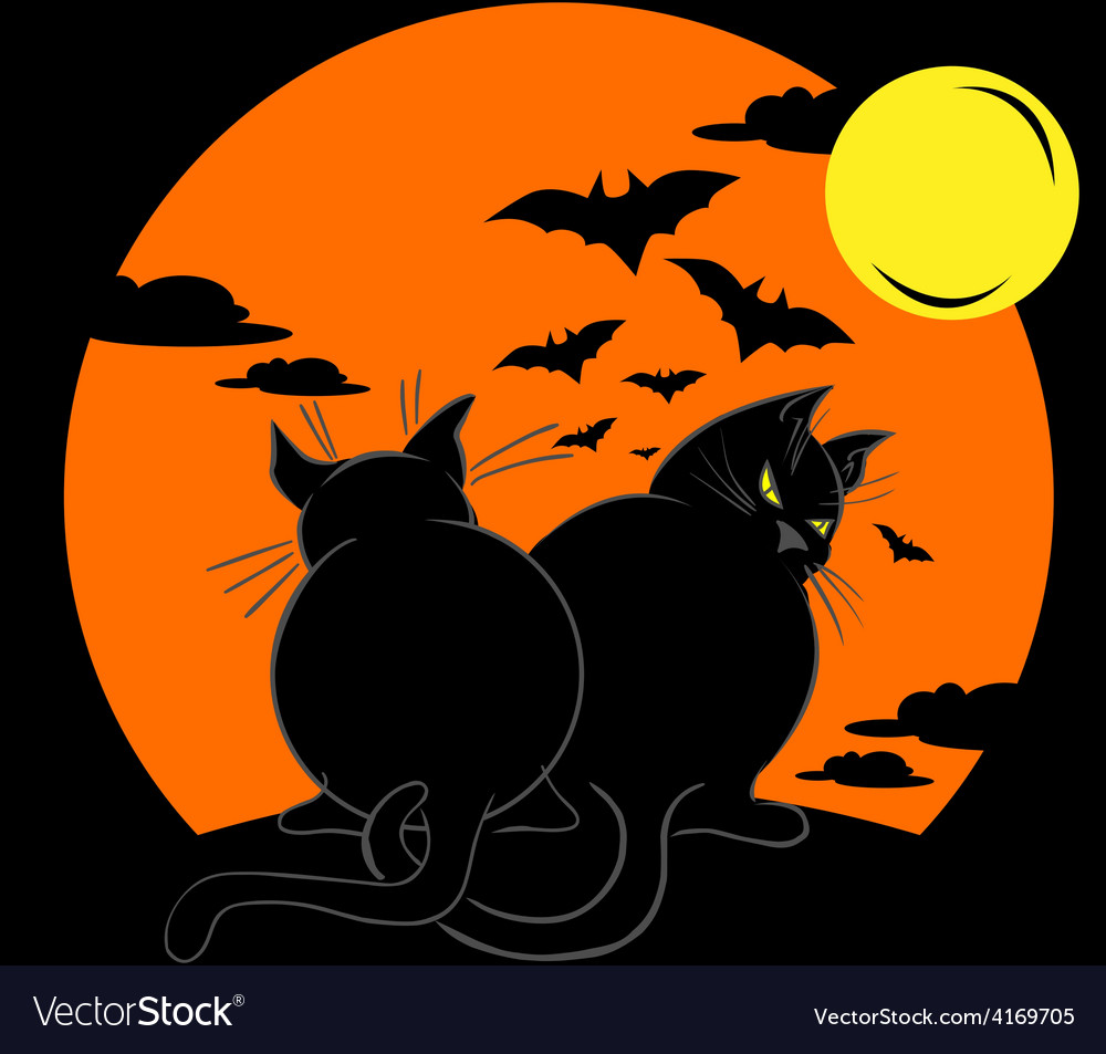 Two fat black cats over moonlight vector | Price: 1 Credit (USD $1)