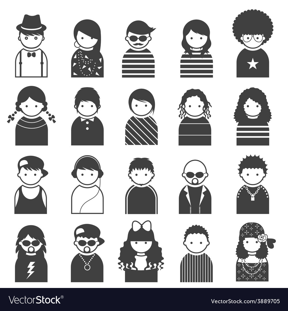 Various people symbol icons teenager set vector