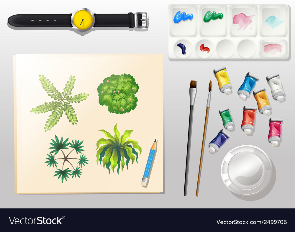 A topview of the materials for painting and a vector | Price: 1 Credit (USD $1)