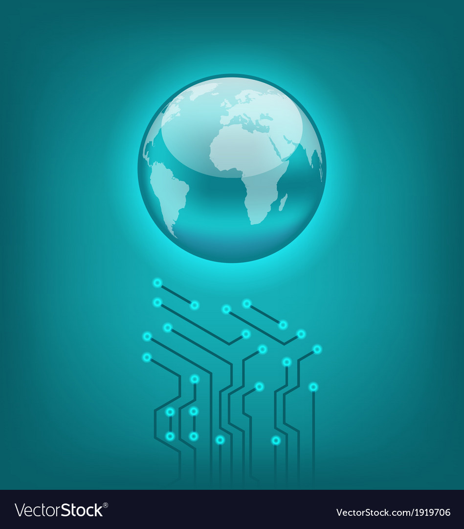 Abstract background with circuit board and earth vector | Price: 1 Credit (USD $1)