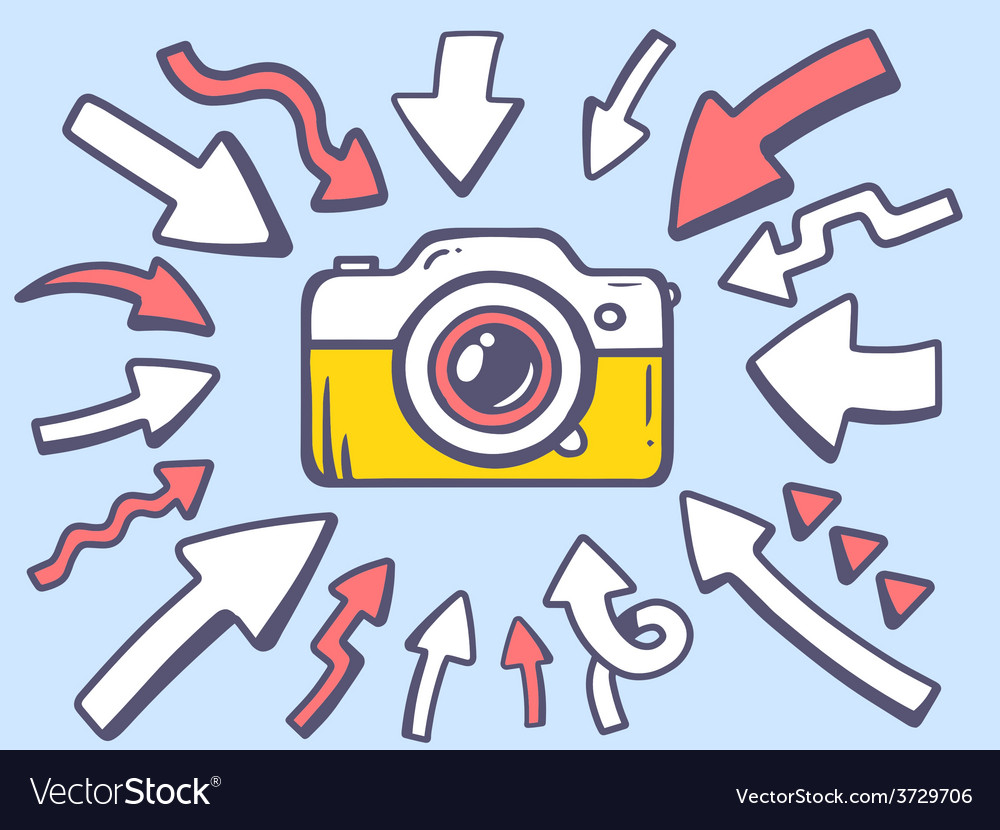 Arrows point to icon of photo camera on g vector   Price: 1 Credit (USD $1)