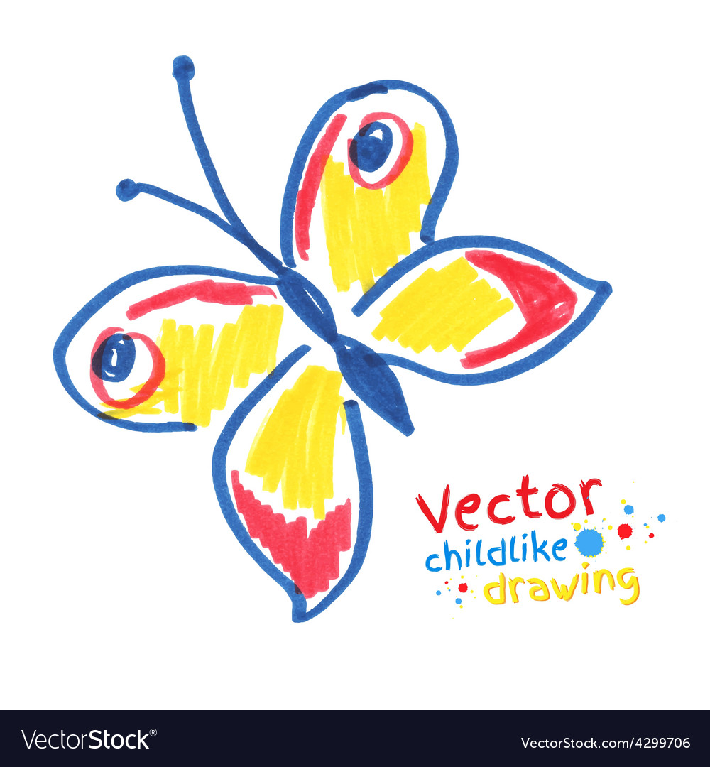 Childlike drawing of butterfly vector | Price: 1 Credit (USD $1)