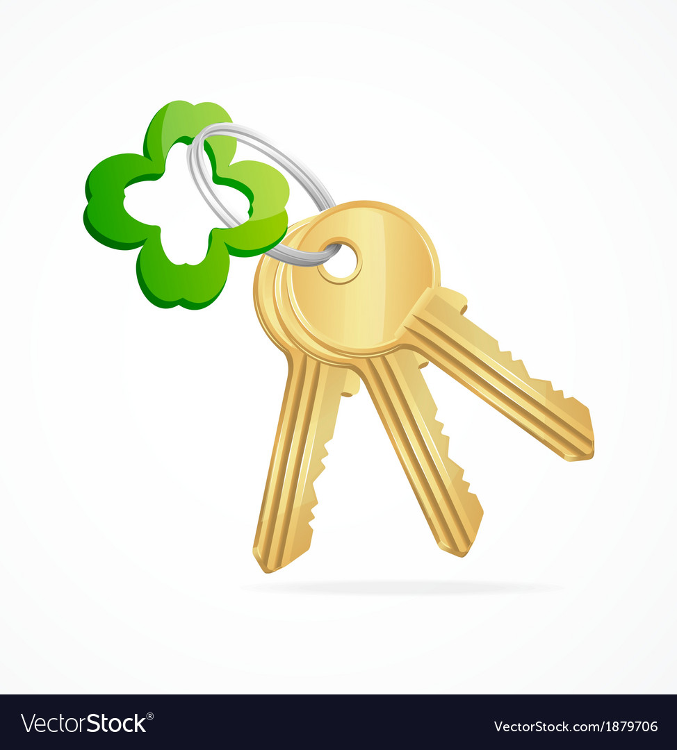Gold keys and clover key chain vector | Price: 1 Credit (USD $1)