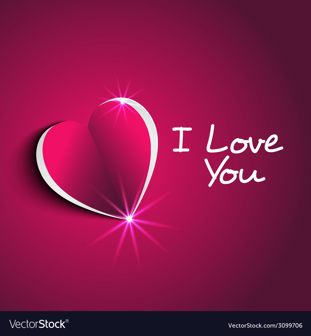 I love you message with modern paper heart shape vector | Price: 1 Credit (USD $1)