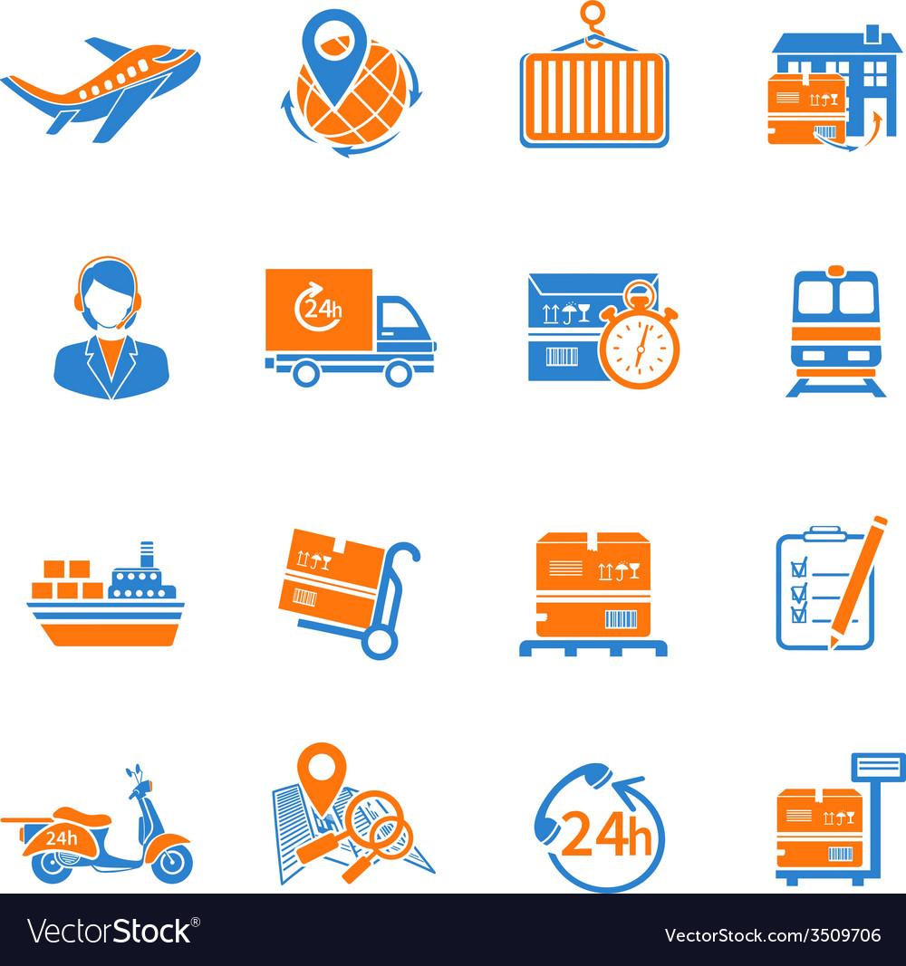 Logistic icons set orange vector | Price: 1 Credit (USD $1)