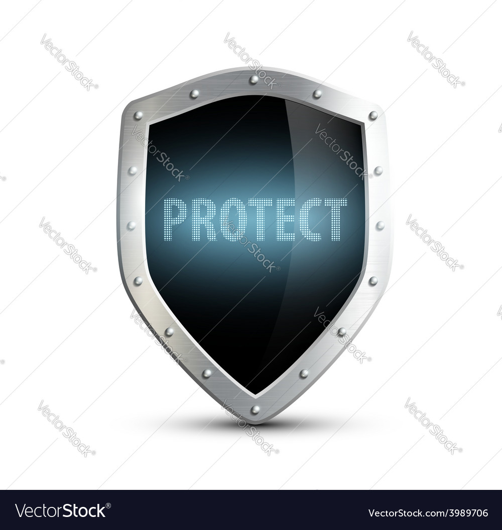 Metal shield with the inscription protect isolated vector | Price: 1 Credit (USD $1)