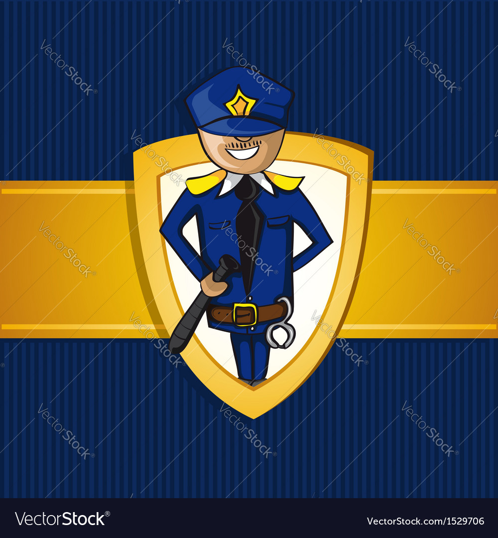 Service police officer man cartoon shield symbol vector | Price: 1 Credit (USD $1)