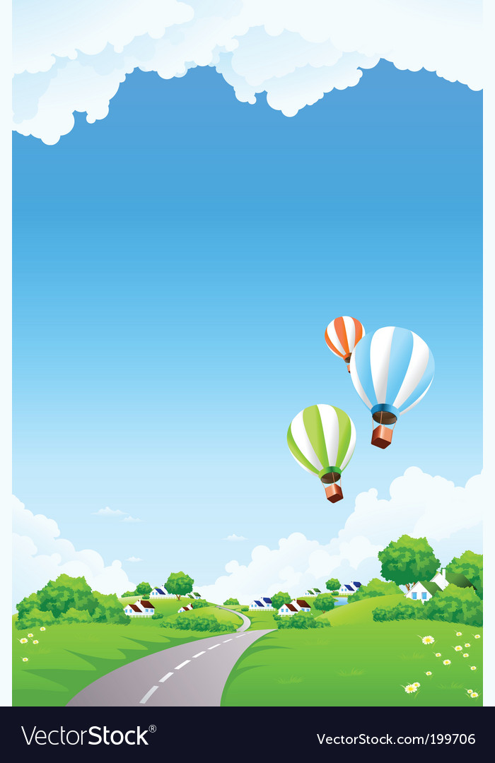 Summer landscape with balloon vector | Price: 1 Credit (USD $1)