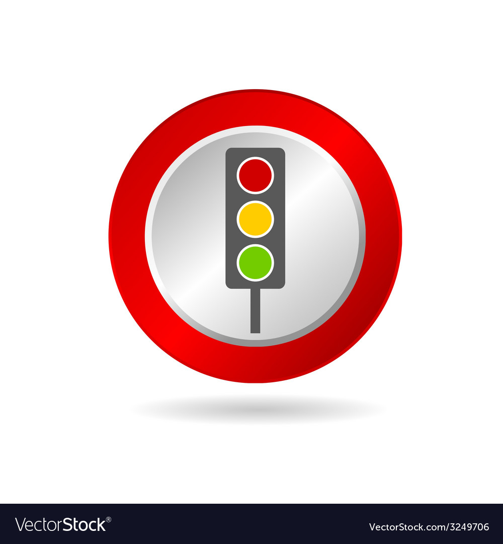 Traffic light icon in red circle vector | Price: 1 Credit (USD $1)