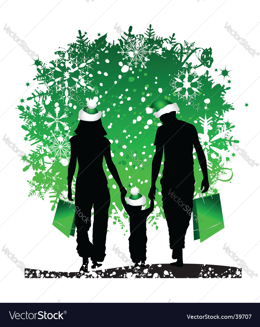 Christmas holiday happy family vector | Price: 1 Credit (USD $1)