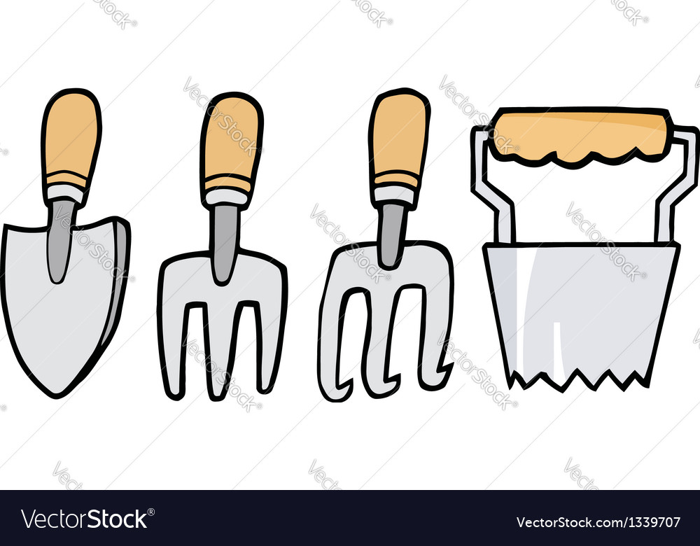 Collage of wood handled gardening tools vector | Price: 1 Credit (USD $1)