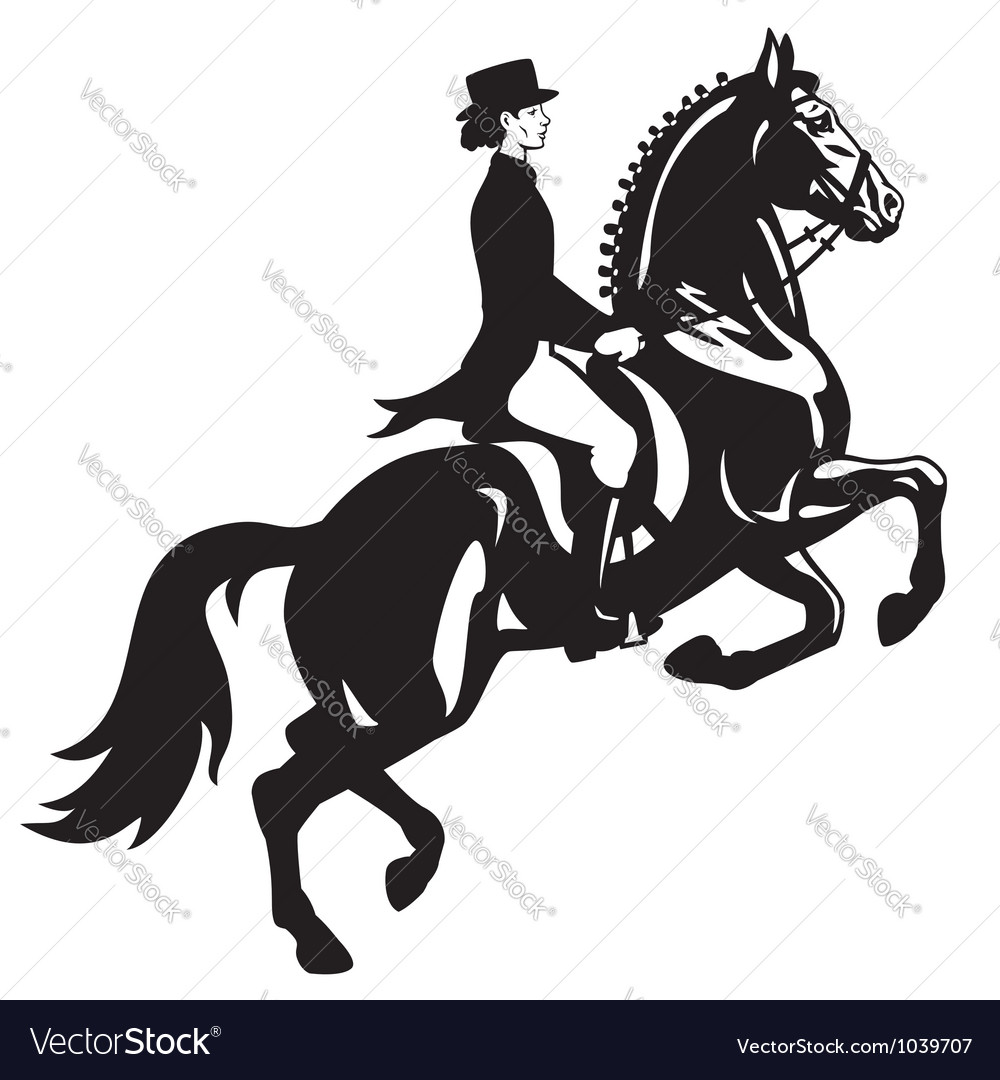 Dressage rider black white vector | Price: 1 Credit (USD $1)