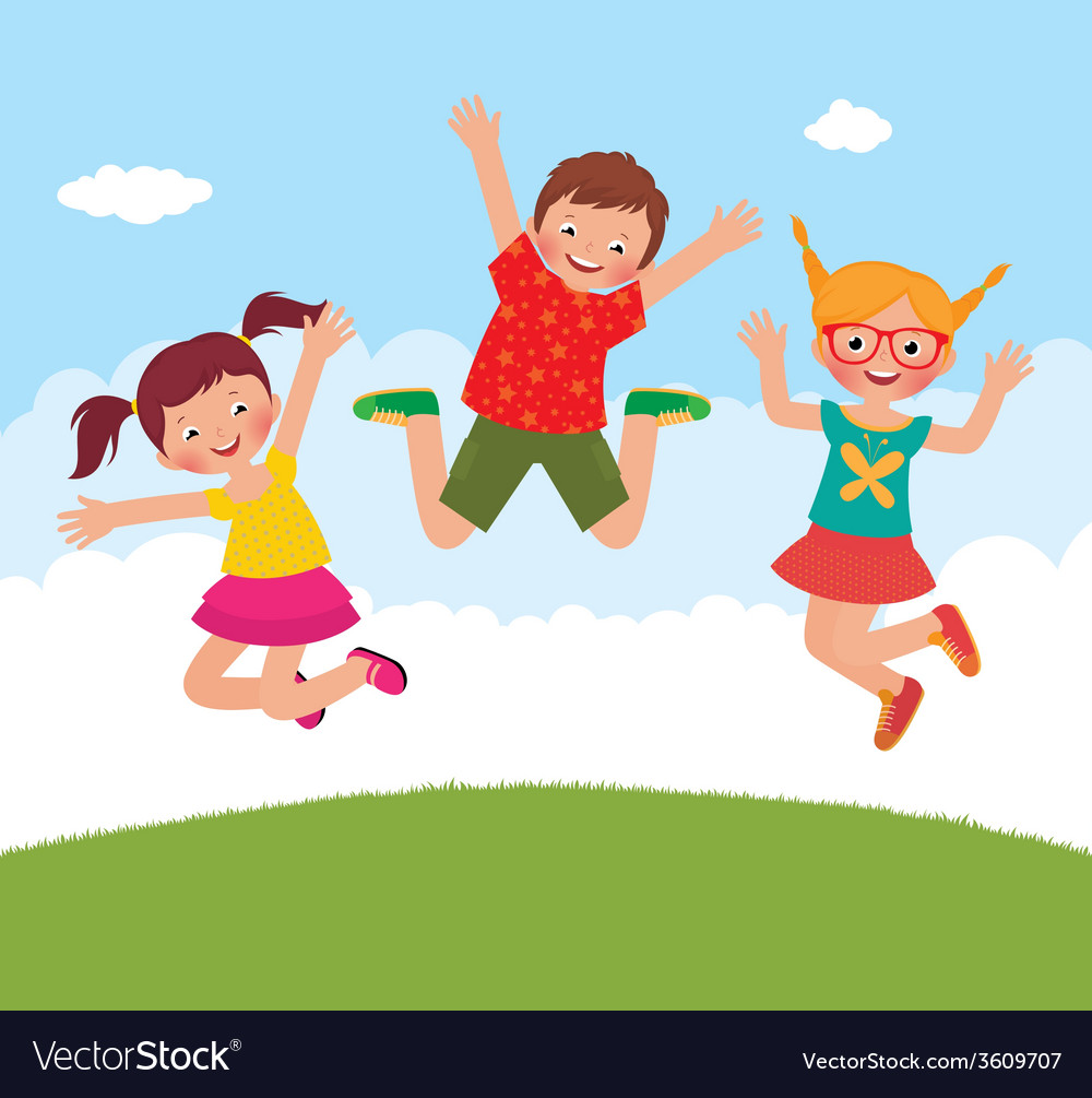 Funny jumping children vector | Price: 1 Credit (USD $1)