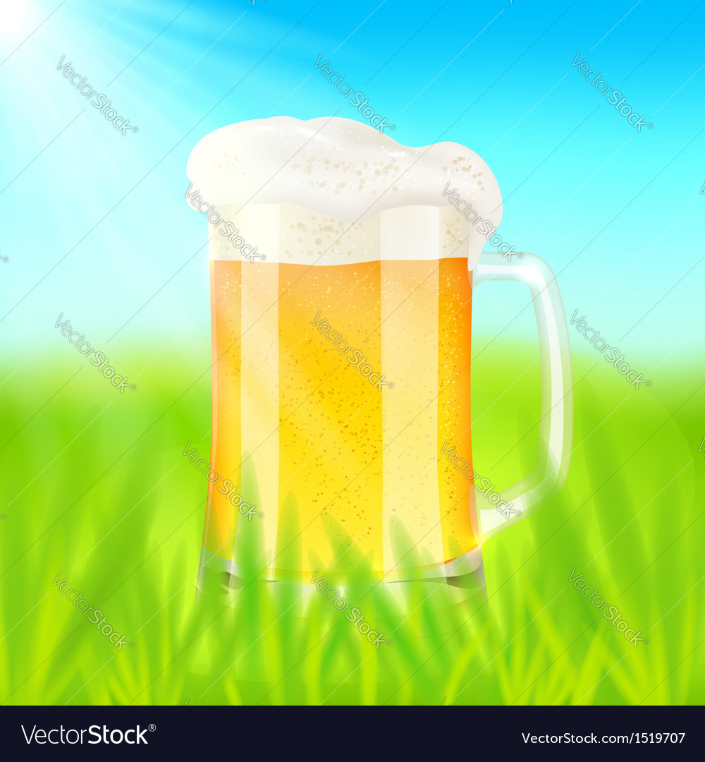 Mug with beer on green field in sunny day vector | Price: 1 Credit (USD $1)