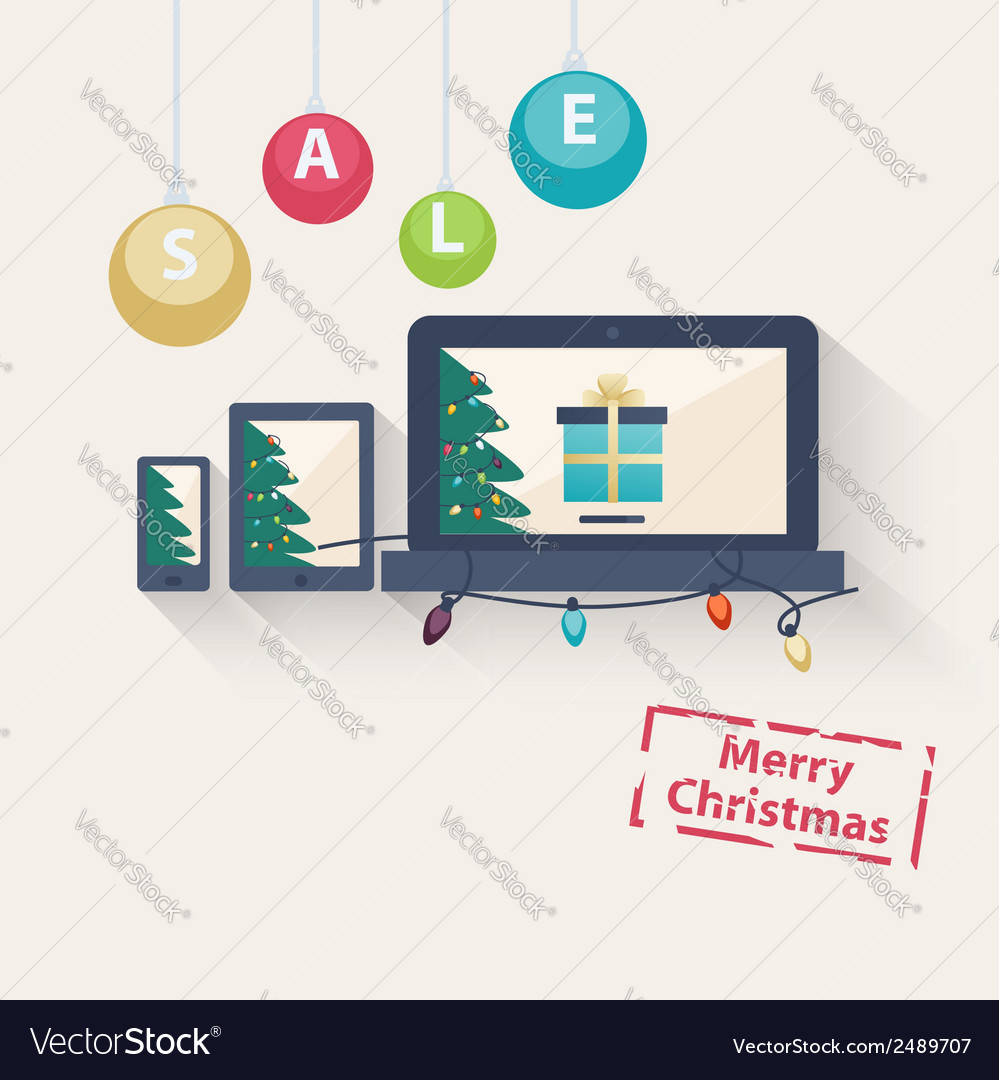 New year or christmas online sale concept vector | Price: 1 Credit (USD $1)