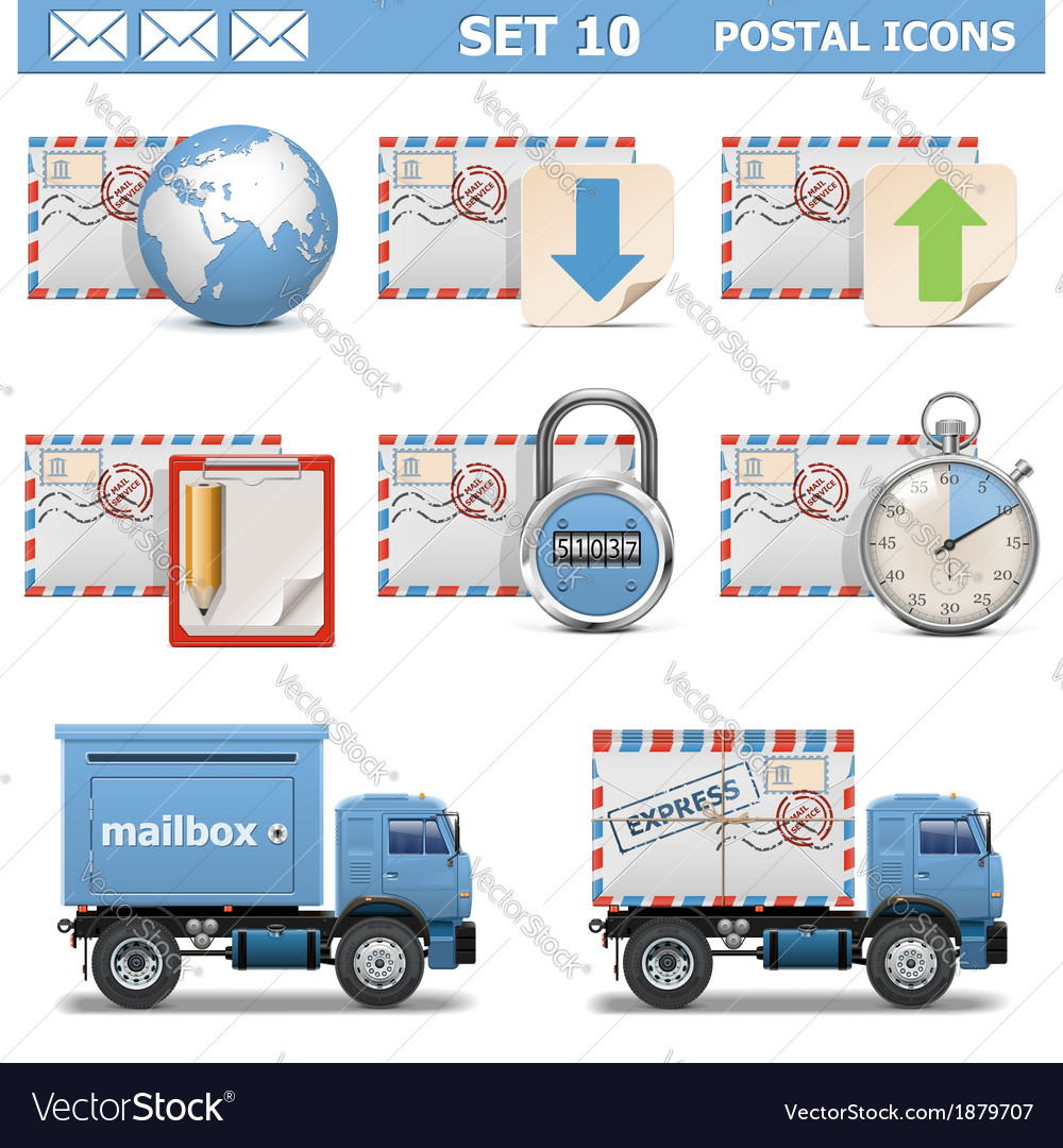Postal icons set 10 vector | Price: 3 Credit (USD $3)