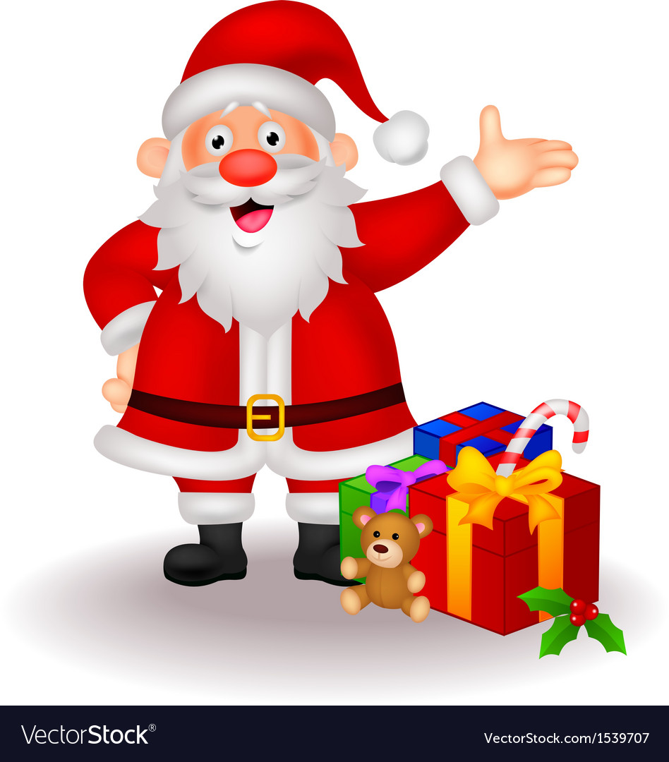 Santa cartoon with gifts vector | Price: 3 Credit (USD $3)