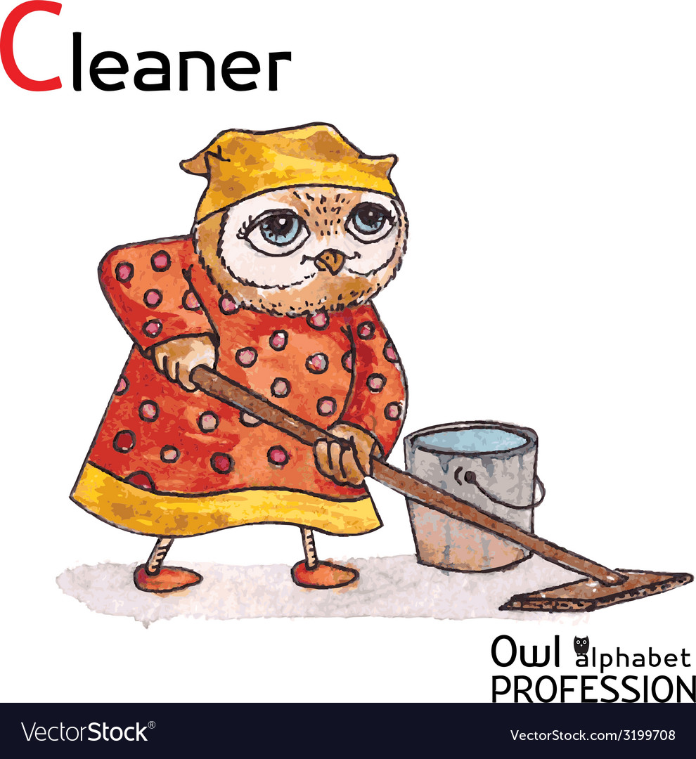 Alphabet professions owl letter c - cleaner vector | Price: 1 Credit (USD $1)