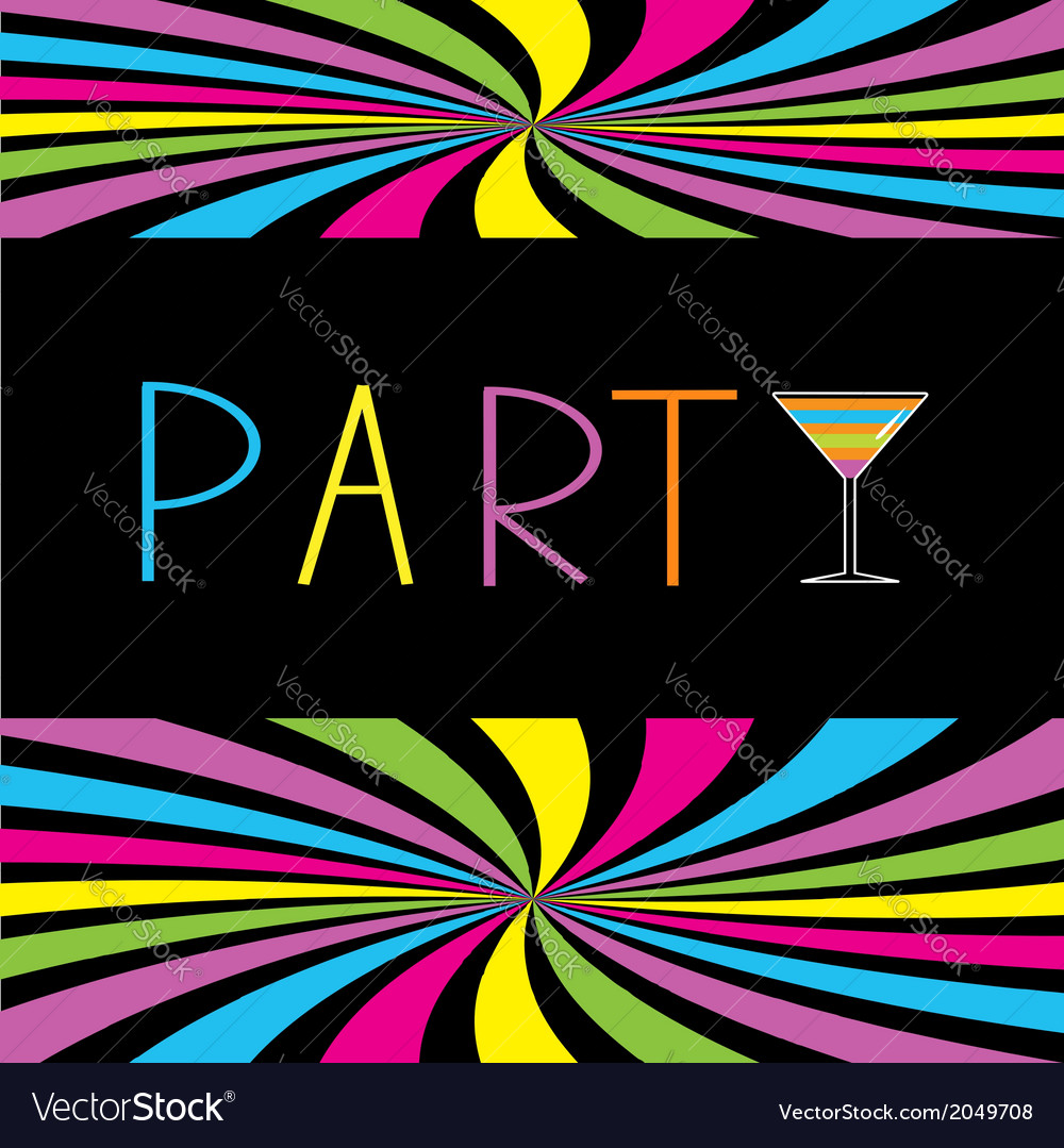 Colorful cocktail party card martini glass vector | Price: 1 Credit (USD $1)