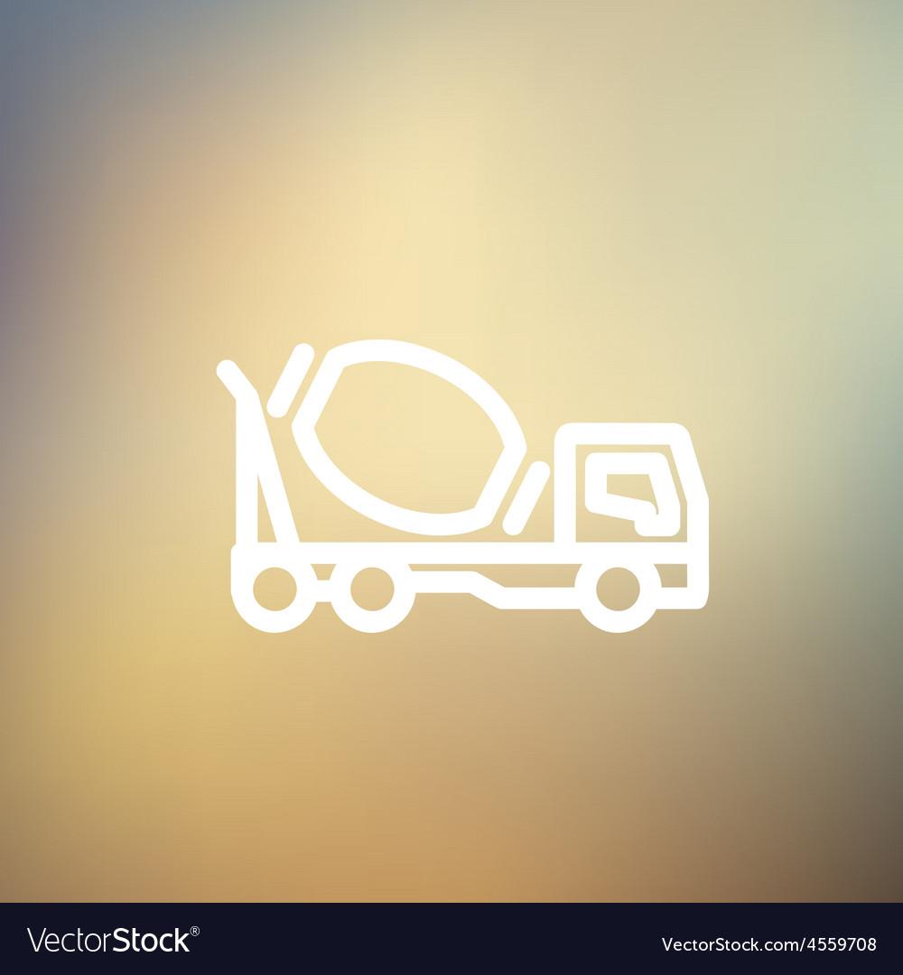 Concrete mixer truck thin line icon vector | Price: 1 Credit (USD $1)