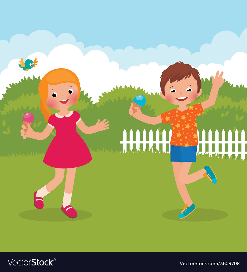 Funny kids happy summer vector | Price: 1 Credit (USD $1)