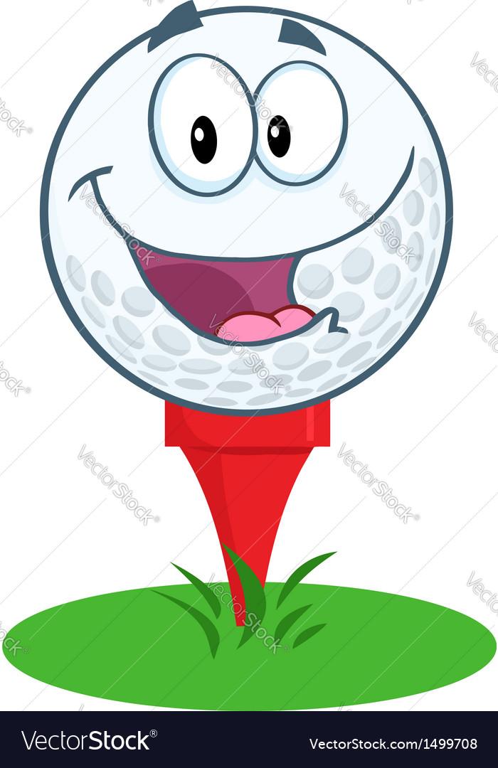 Happy golf ball cartoon character over tee vector | Price: 1 Credit (USD $1)