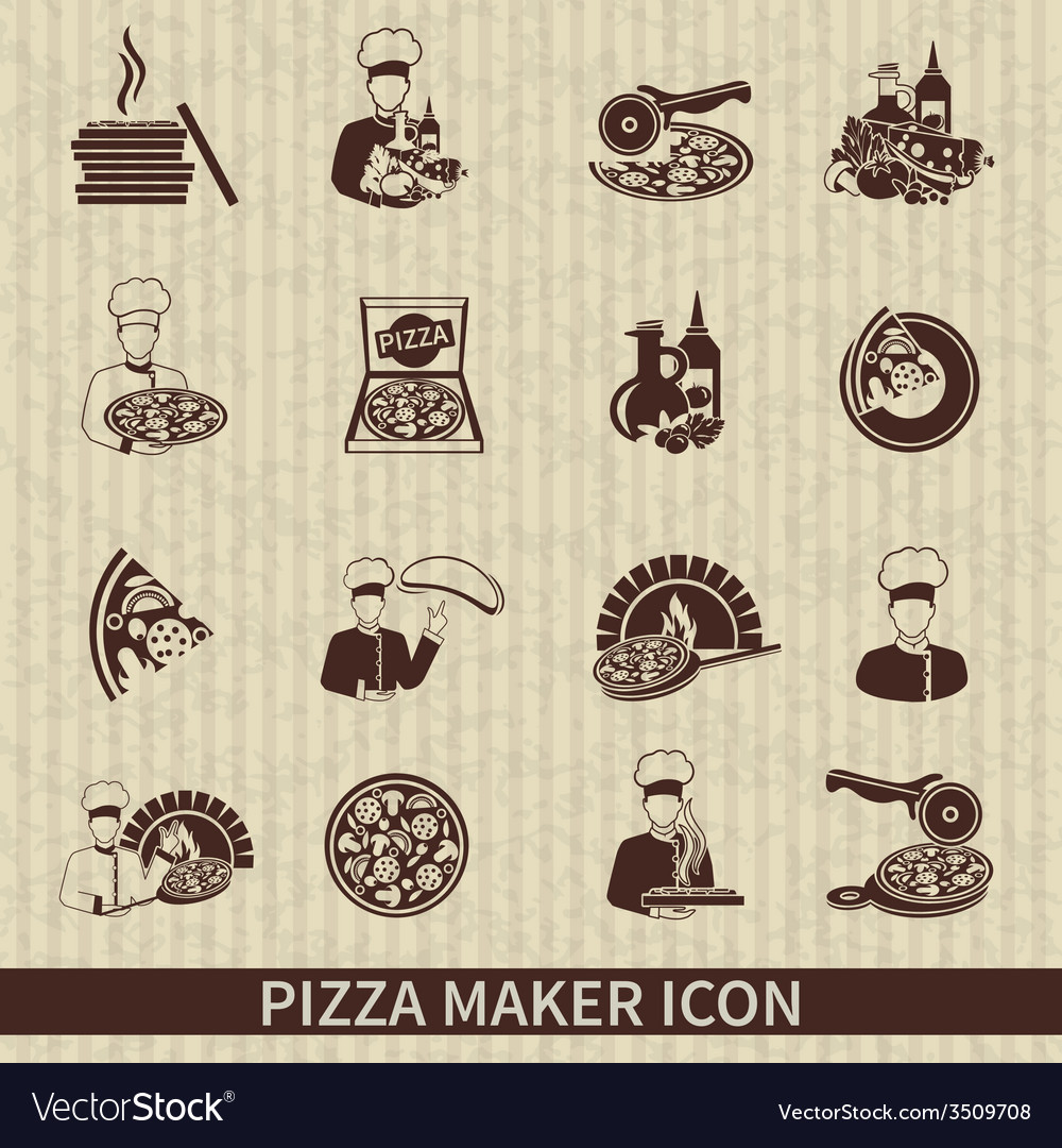 Pizza maker icon black vector | Price: 1 Credit (USD $1)