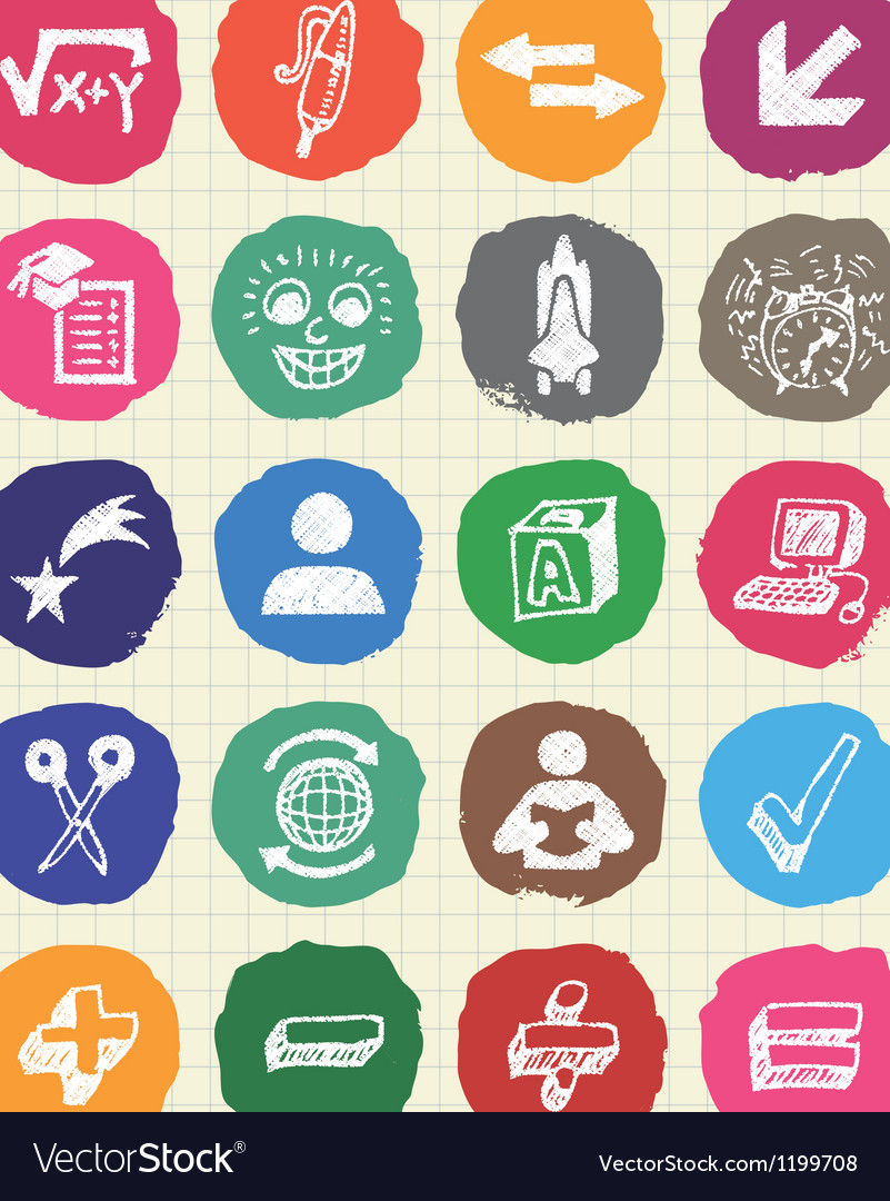 School and education web icons set drawn by chalk vector | Price: 1 Credit (USD $1)