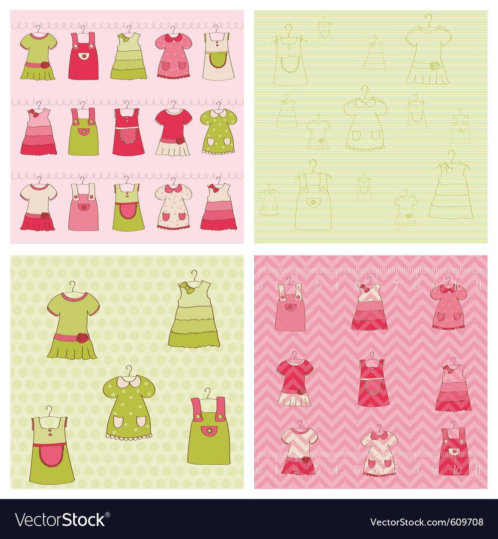 Seamless background collection - baby girl dress vector | Price: 1 Credit (USD $1)