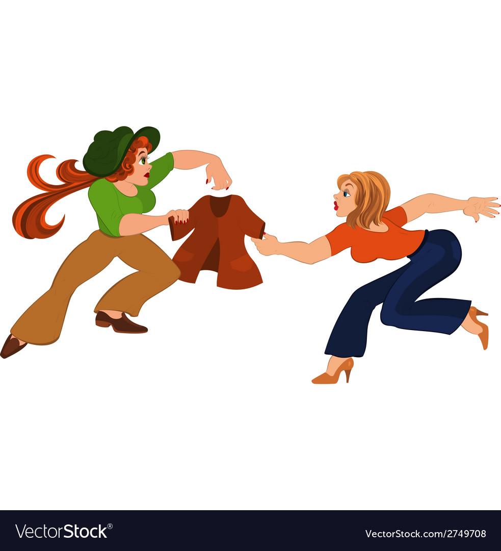 Two cartoon girls fighting over brown jacket vector | Price: 1 Credit (USD $1)