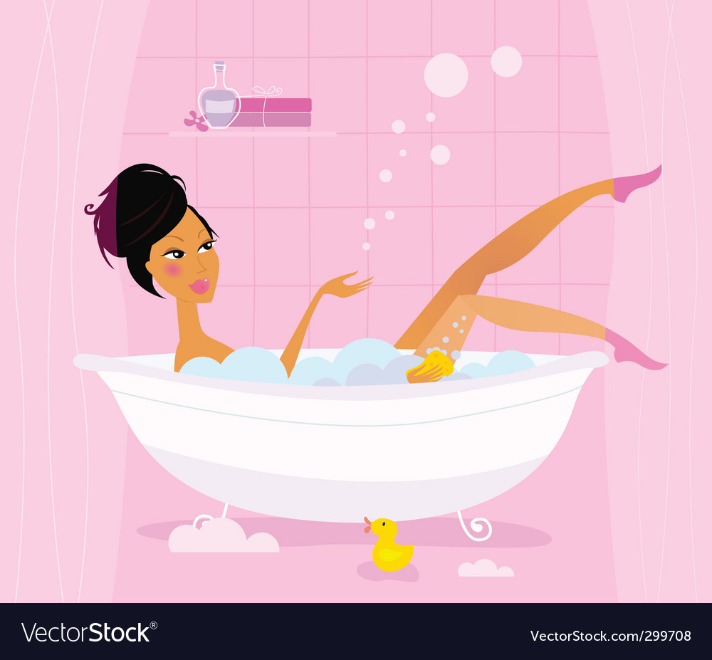 Woman in retro bathtub vector | Price: 1 Credit (USD $1)