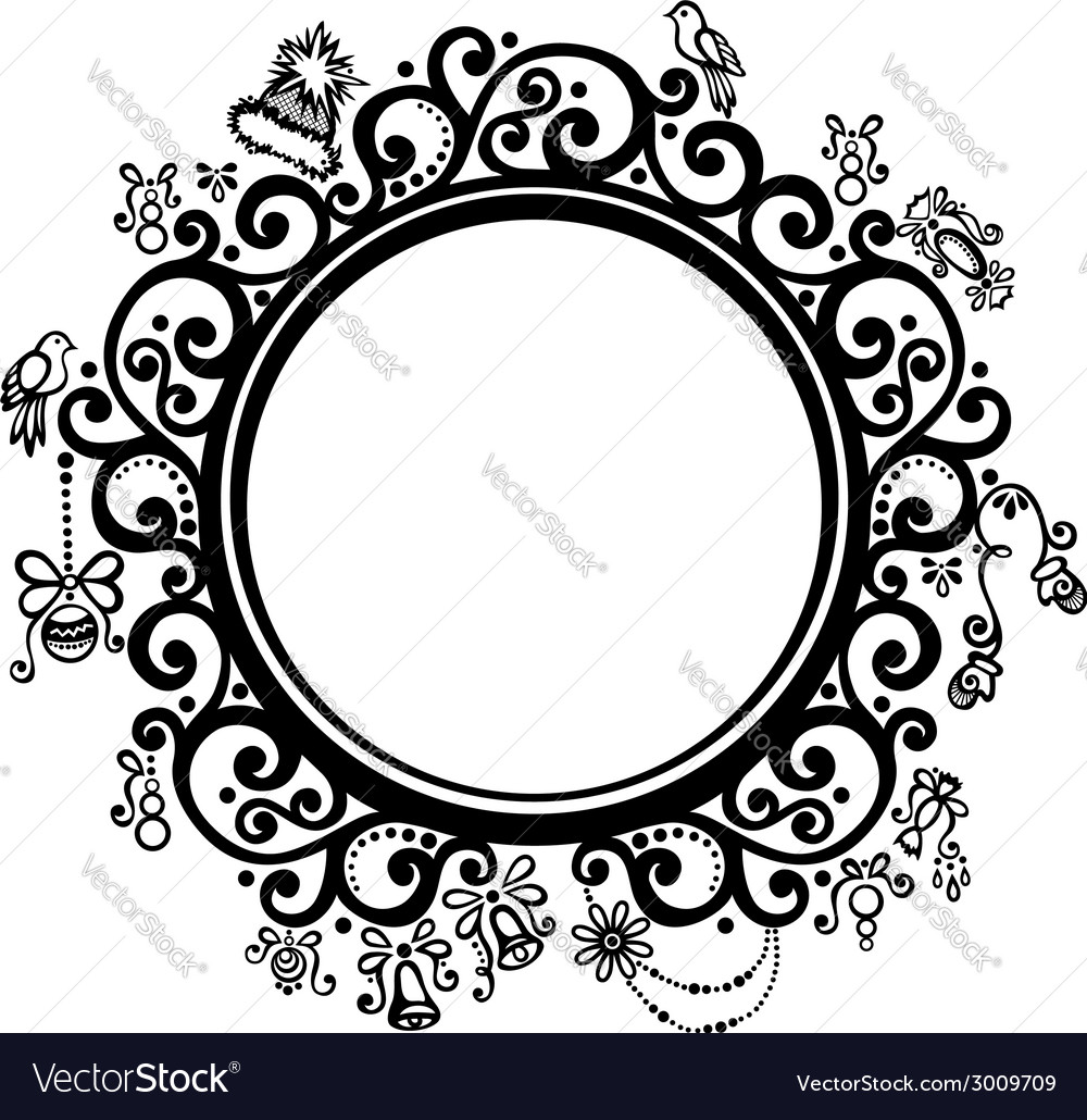 Beautiful decorative round frame vector | Price: 1 Credit (USD $1)