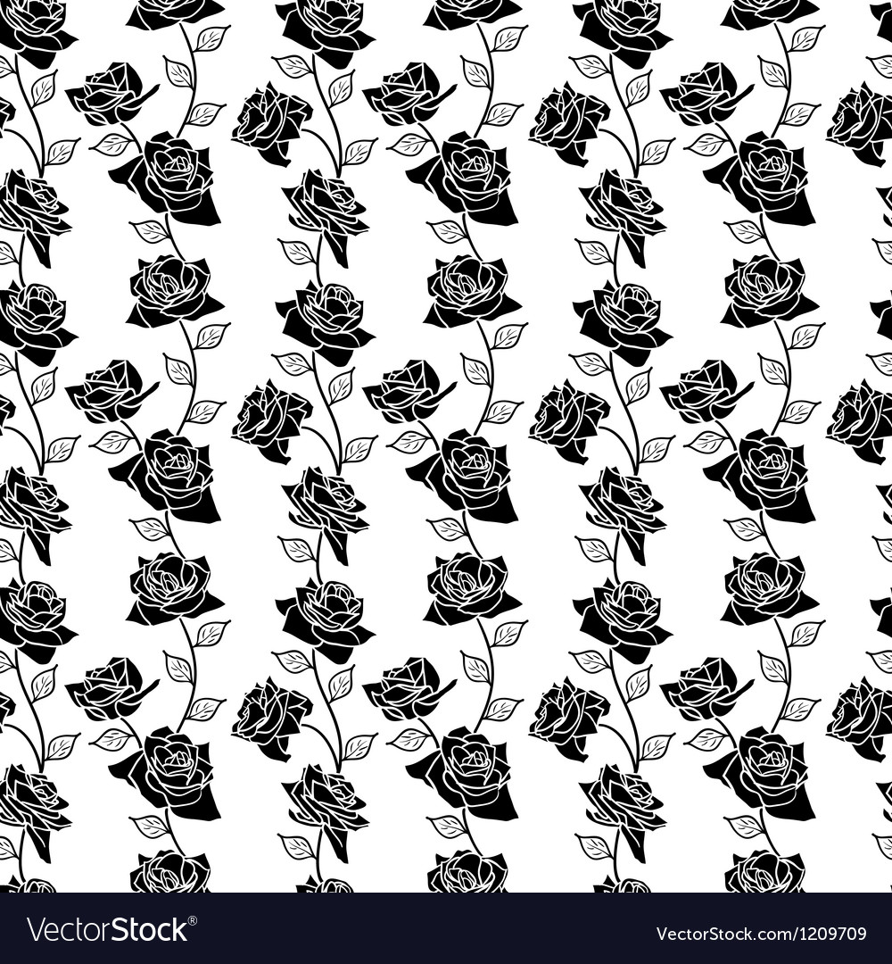 Beautiful seamless wallpaper with rose flowers vector | Price: 1 Credit (USD $1)