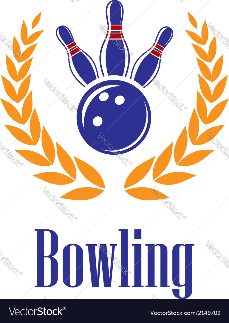 Bowling elements in laurel wreath vector | Price: 1 Credit (USD $1)