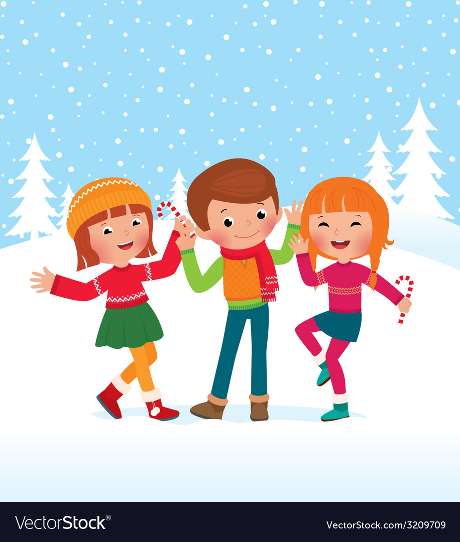 Children are happy winter day vector | Price: 1 Credit (USD $1)