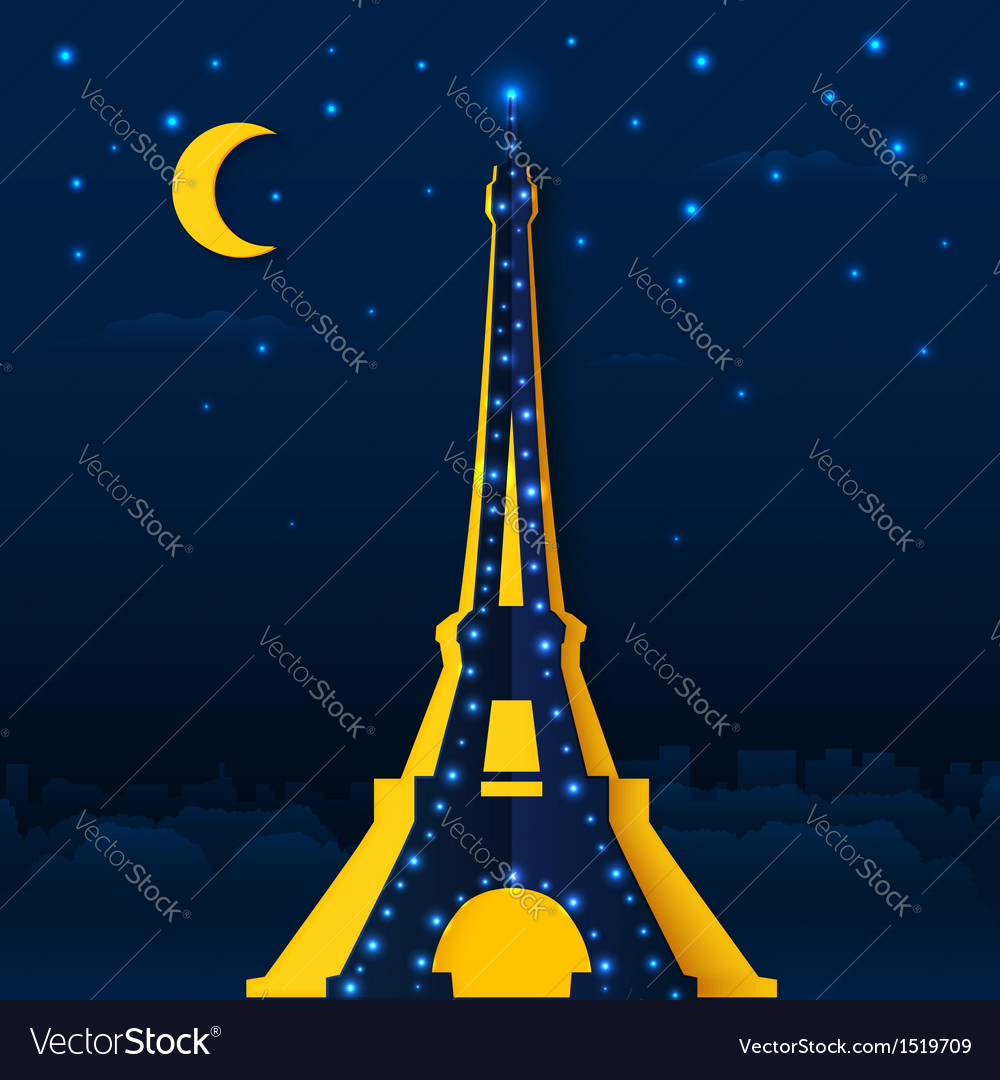 Cutout paper night eiffel tower vector | Price: 1 Credit (USD $1)