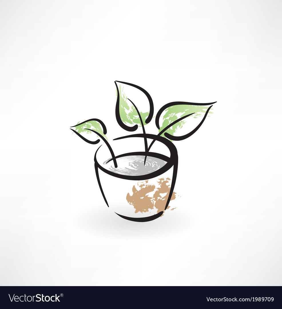 Flower in pot grunge icon vector | Price: 1 Credit (USD $1)