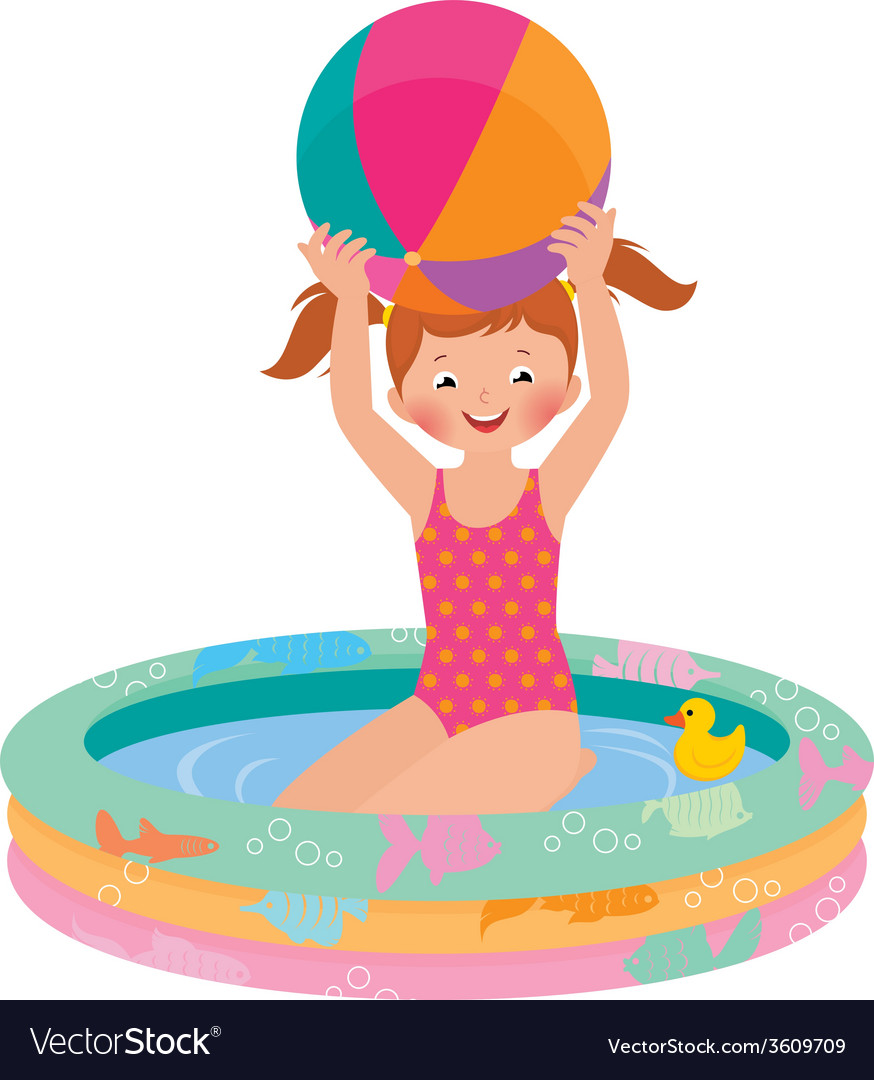 Girl in inflatable pool vector | Price: 1 Credit (USD $1)