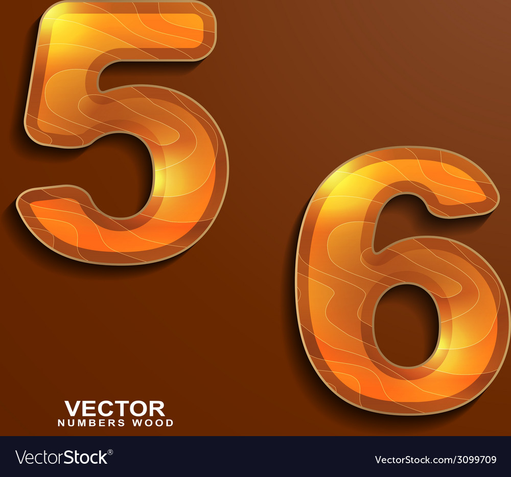 Icons wood texture numbers 5 6 vector | Price: 1 Credit (USD $1)