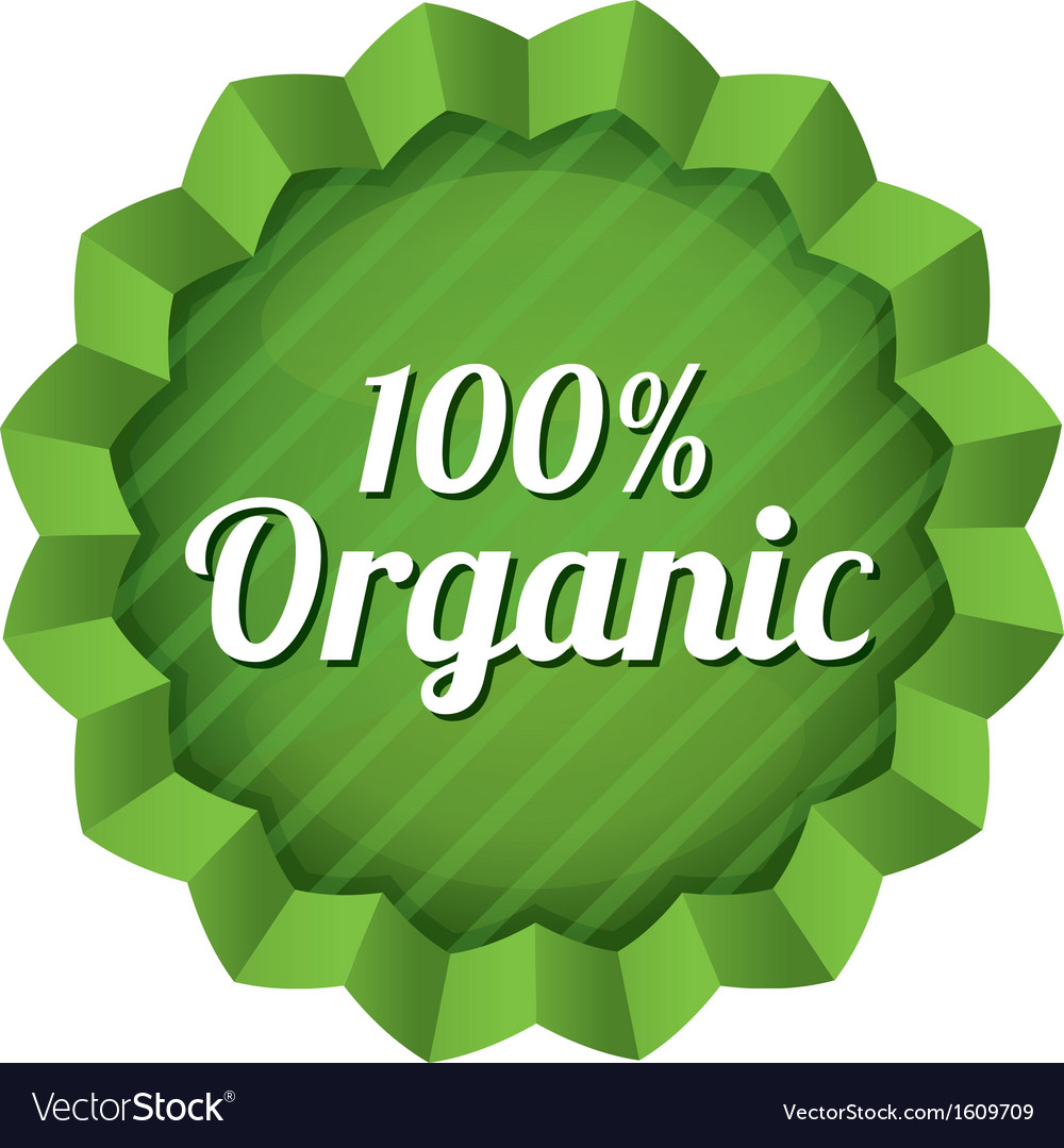 Organic food label tag ecological green sticker vector | Price: 1 Credit (USD $1)