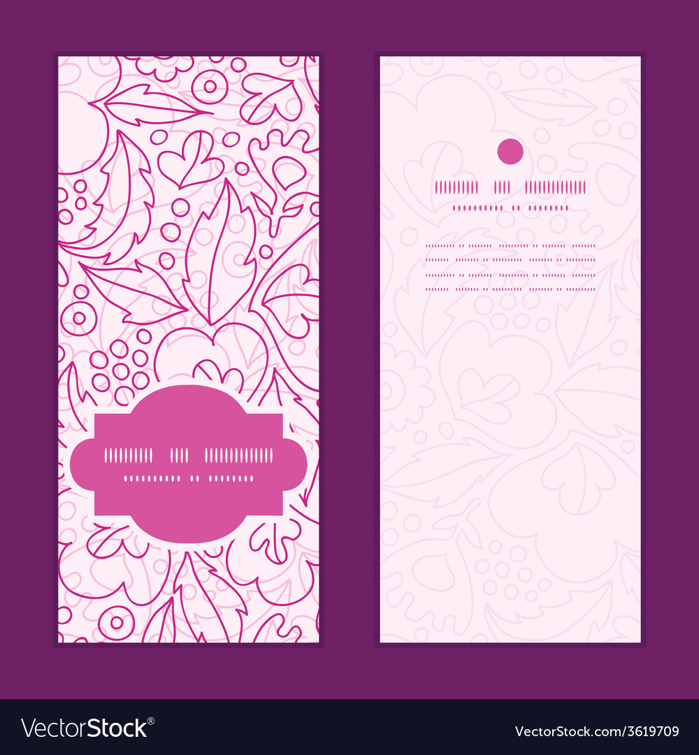 Pink flowers lineart vertical frame pattern vector | Price: 1 Credit (USD $1)