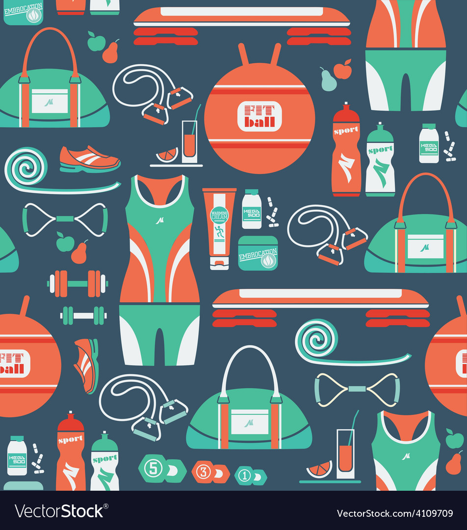 Seamless pattern with icons of fitness vector | Price: 1 Credit (USD $1)