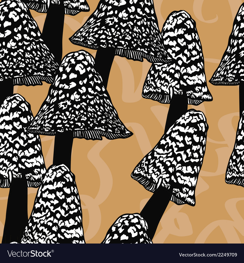 Seamless pattern with mushrooms vector | Price: 1 Credit (USD $1)