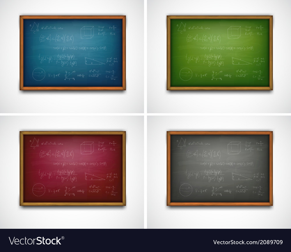 Set school boards with formulas vector | Price: 1 Credit (USD $1)